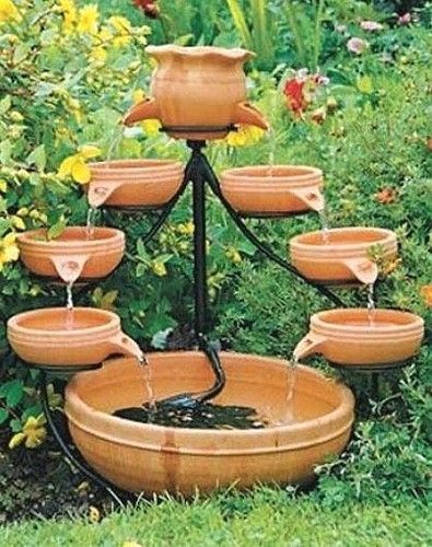 Double Tier Terracotta Cascade Solar Outdoor Water Fountain Waterfountain Yard Garden Fontes De Agua Interiores Jardins Pequenos Fontes De Agua