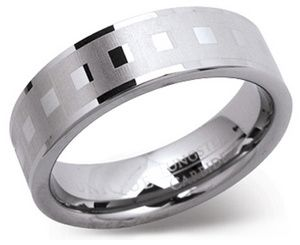 7mm Laser Engraved Tungsten Carbide Ring