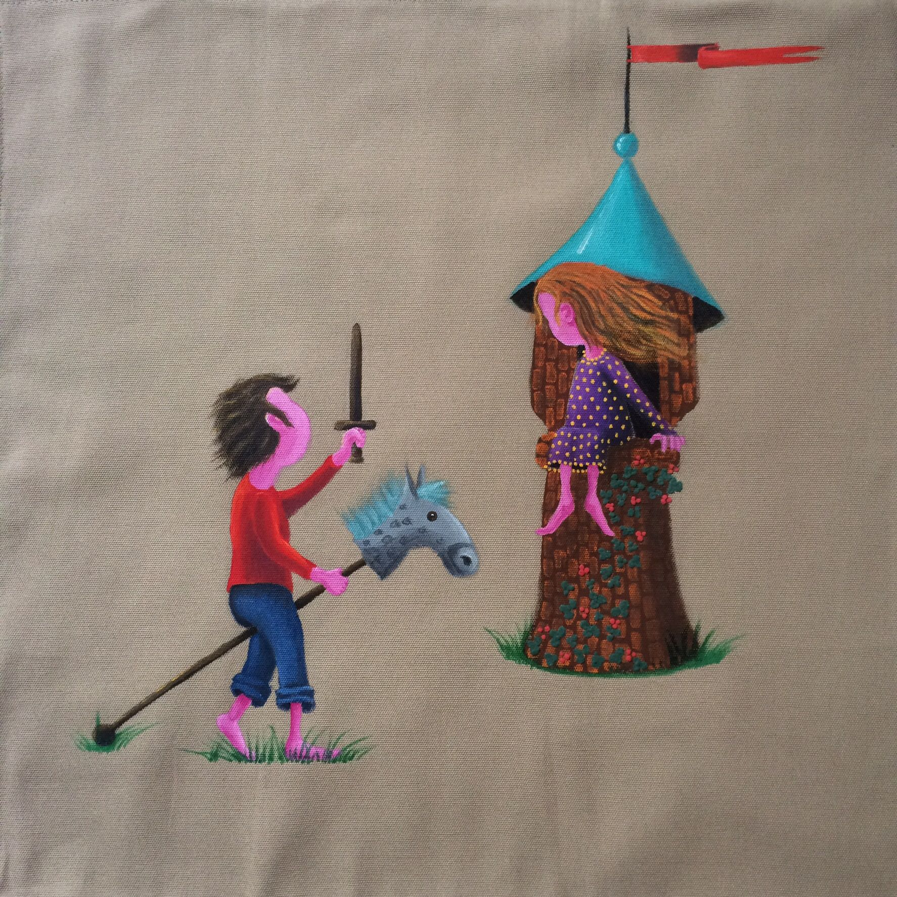 Fair lady and brave knight cushion cover size x cm x