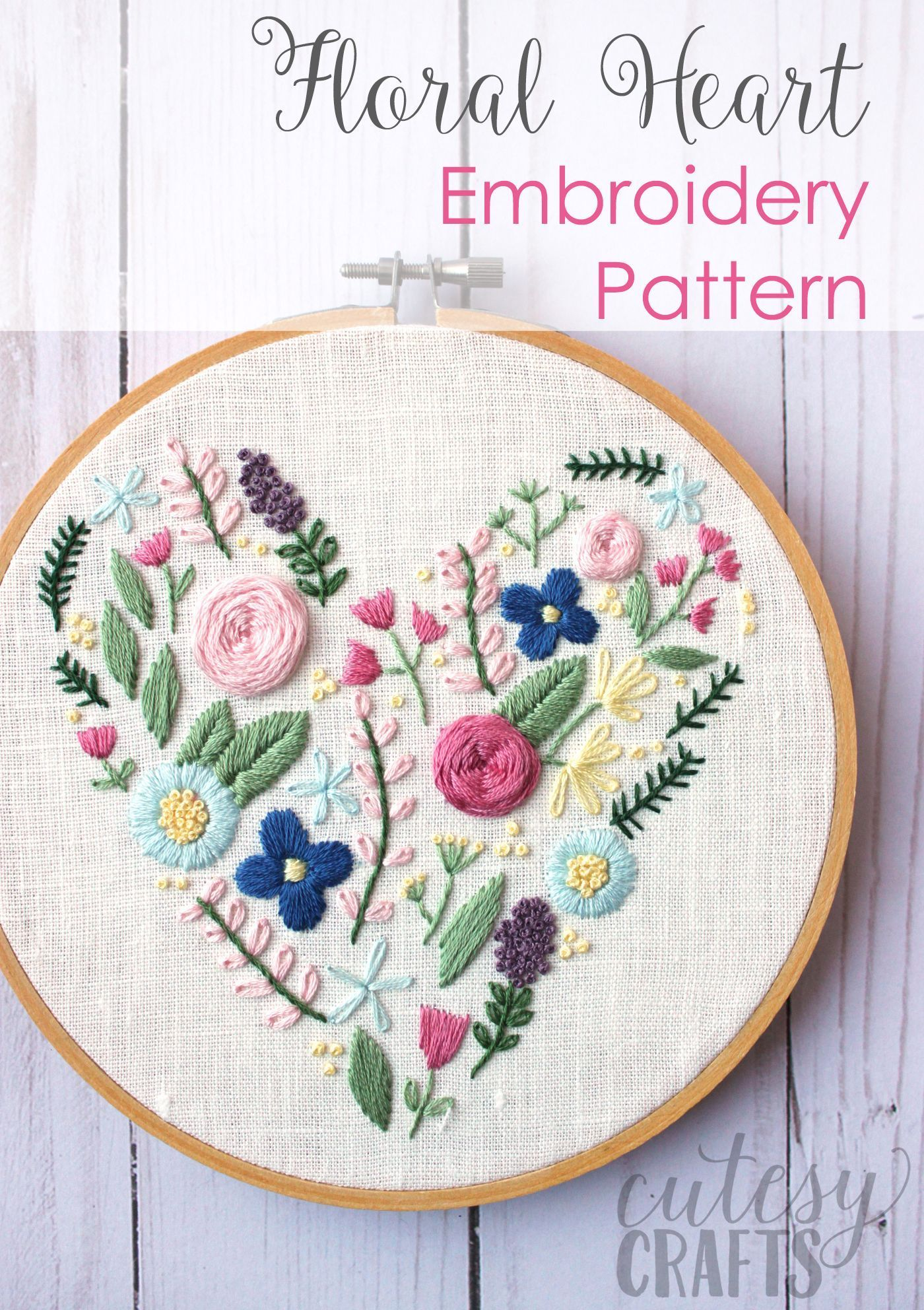 Learn hand embroidery stitches with this beautiful free floral