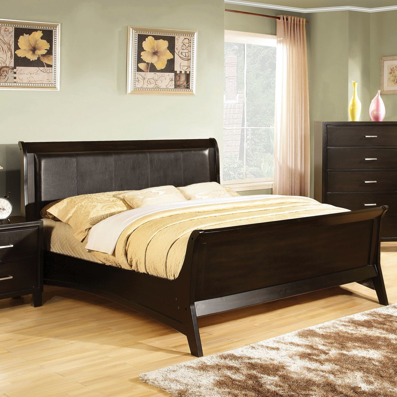 Upholstered Full Sleigh Bed Sleigh Beds Furniture Simple Bed