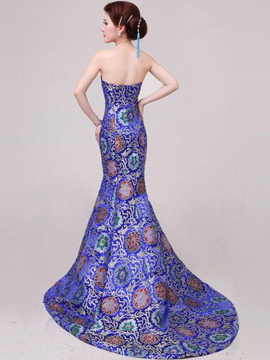 Blue Fishtail Cheongsam / Qipao / Chinese Wedding / Evening Dress ...