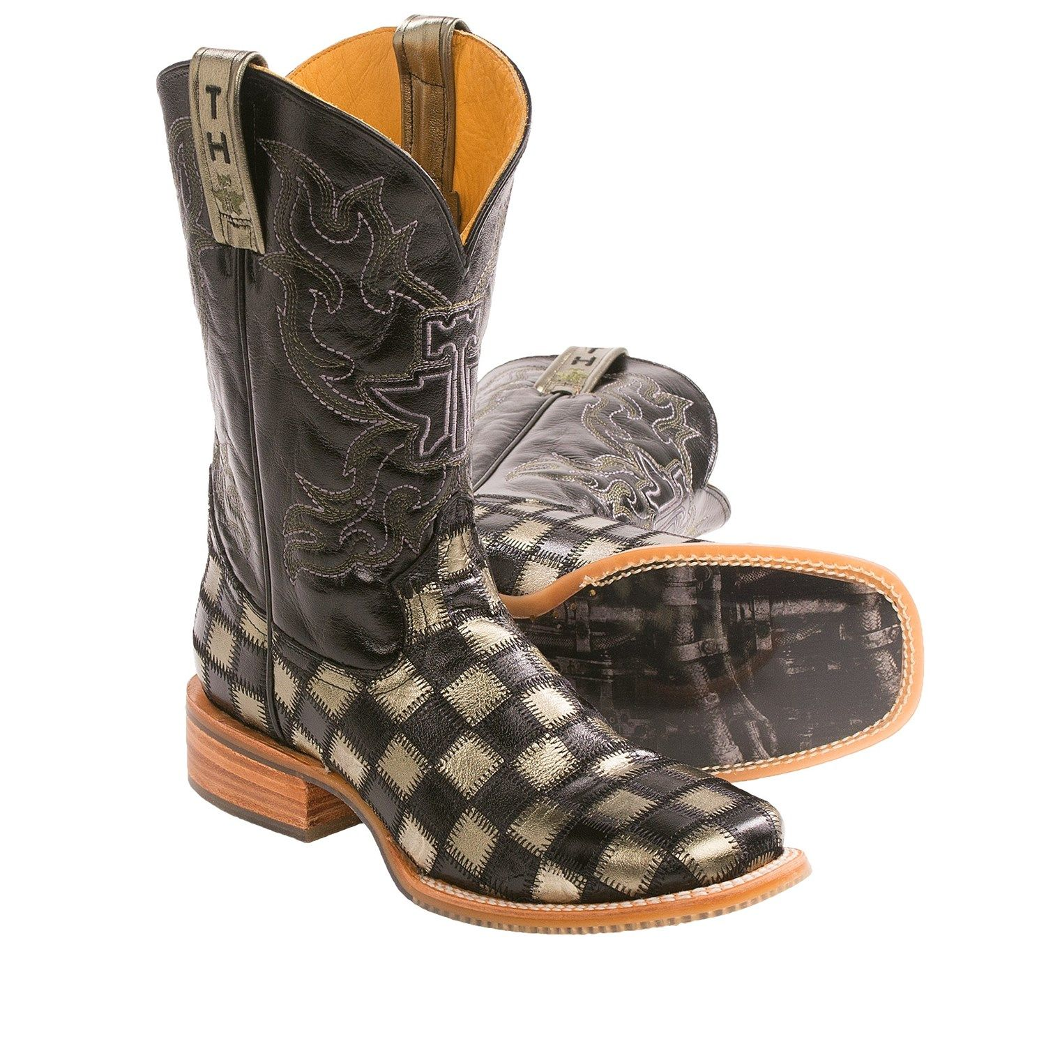 Tin Haul Metallic Checkerboard Cowboy Boots - Square Toe (For Men ...