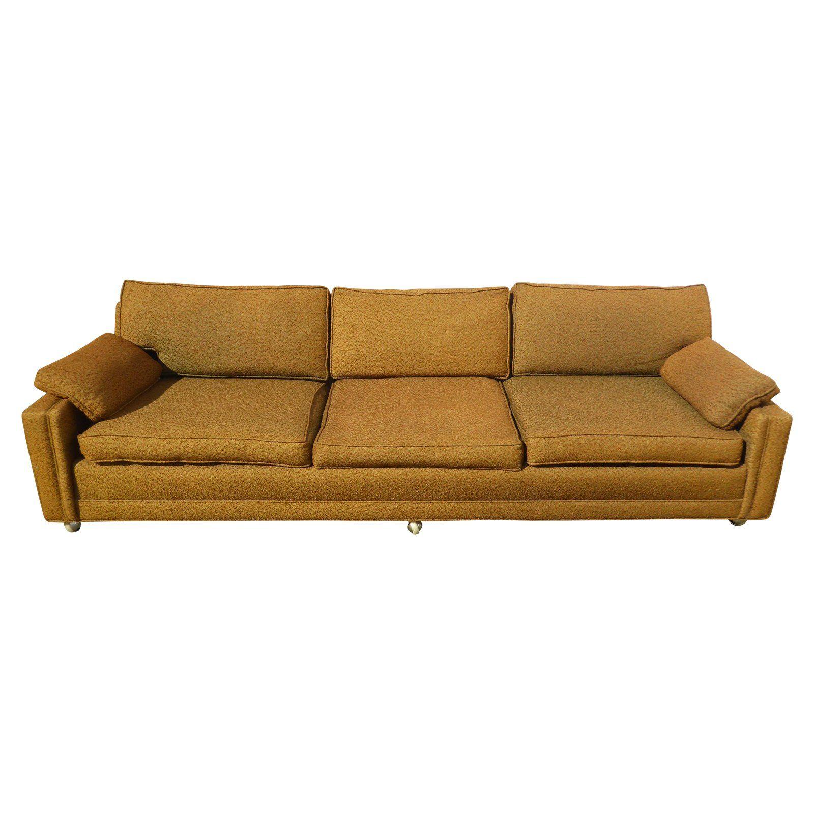 Mid Century Modern Gold Sofa On Castors For Sale Gold Sofa