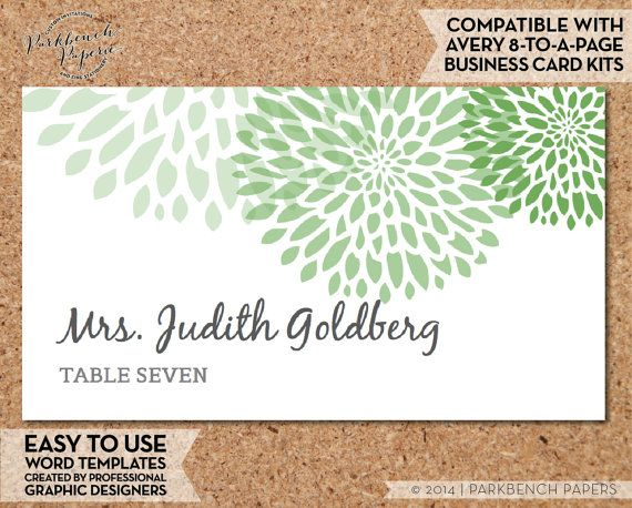 Place Card Template  Mums  GRASS   DIY by ParkbenchPaperie on Etsy
