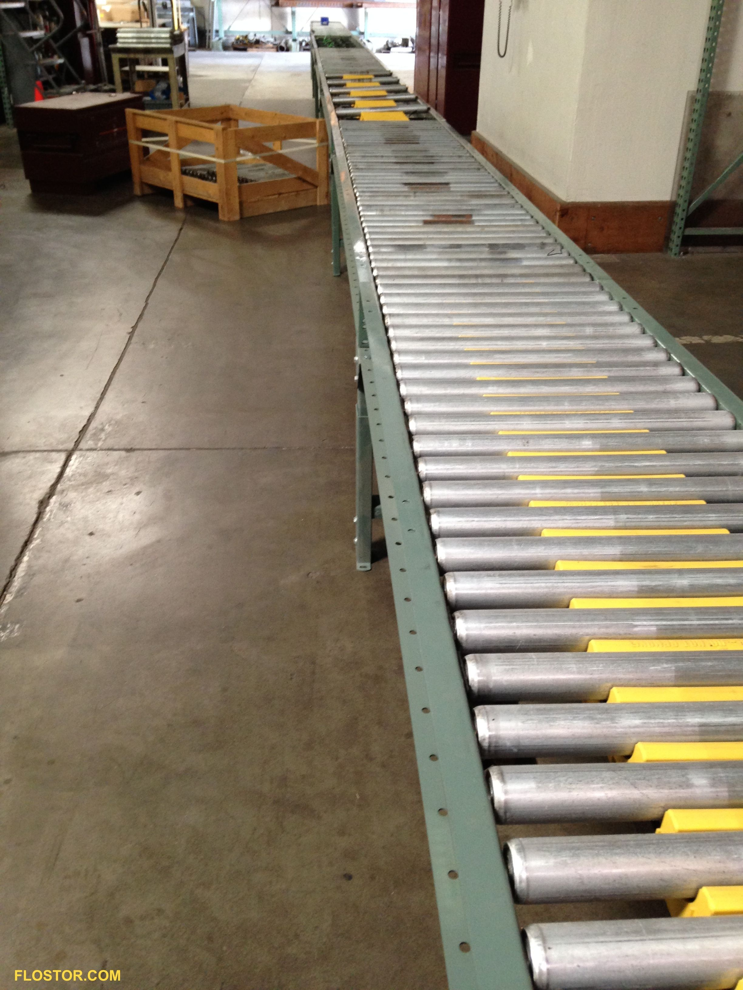 Conveyor length being assembled in the FloStor warehouse