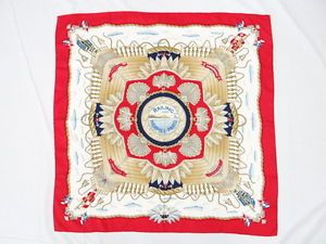 Auth HERMES Scarf Carre RAILING Silk 100% Shells Ship Red 06110362800 2057
