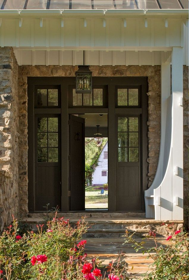 Modern Farmhouse Front Door New Construction Built In Bench Metal Roof Stone  Step Entry Virginia