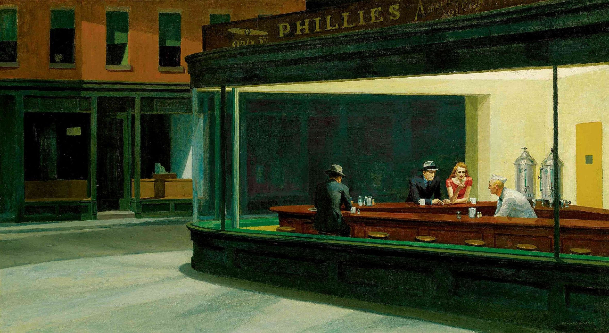 Famous cafe painting - Edward_hopper Nighthawks 1942 Art Institute A Chicago