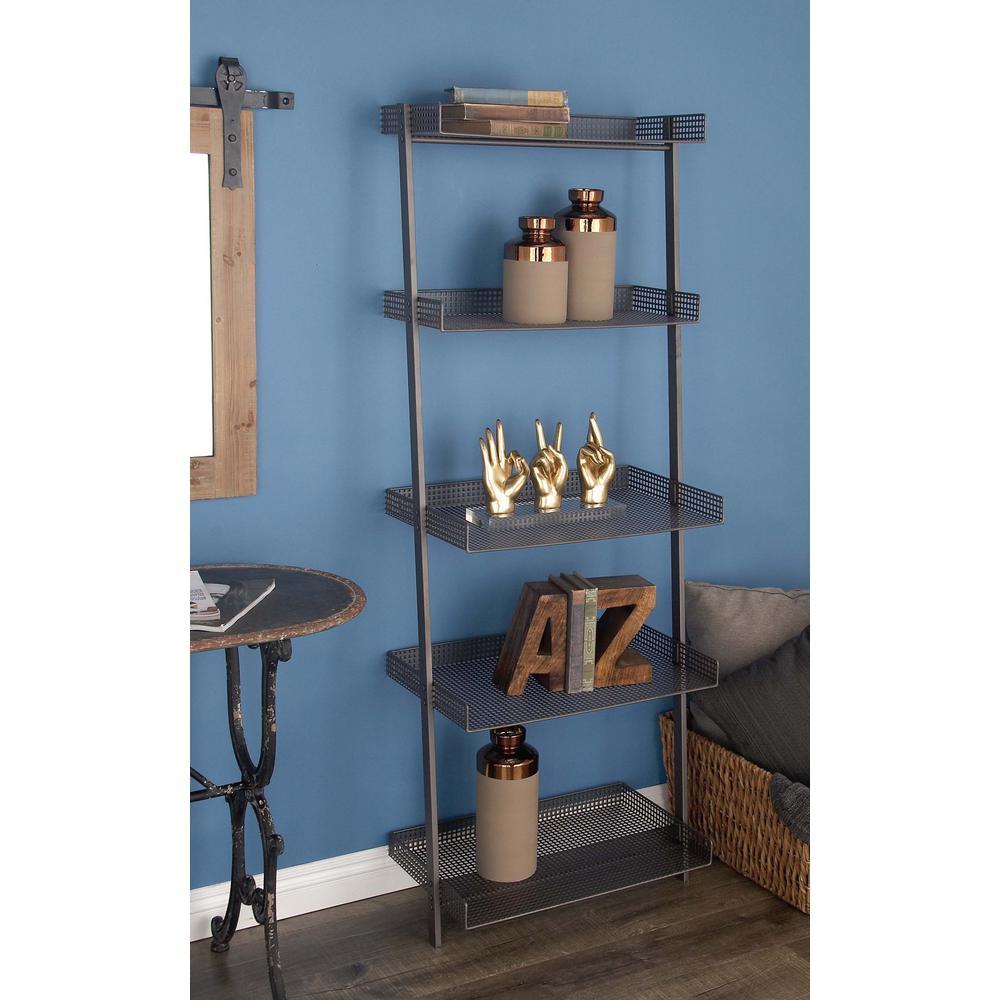 in x in tier iron leaning wall shelf in gray grays