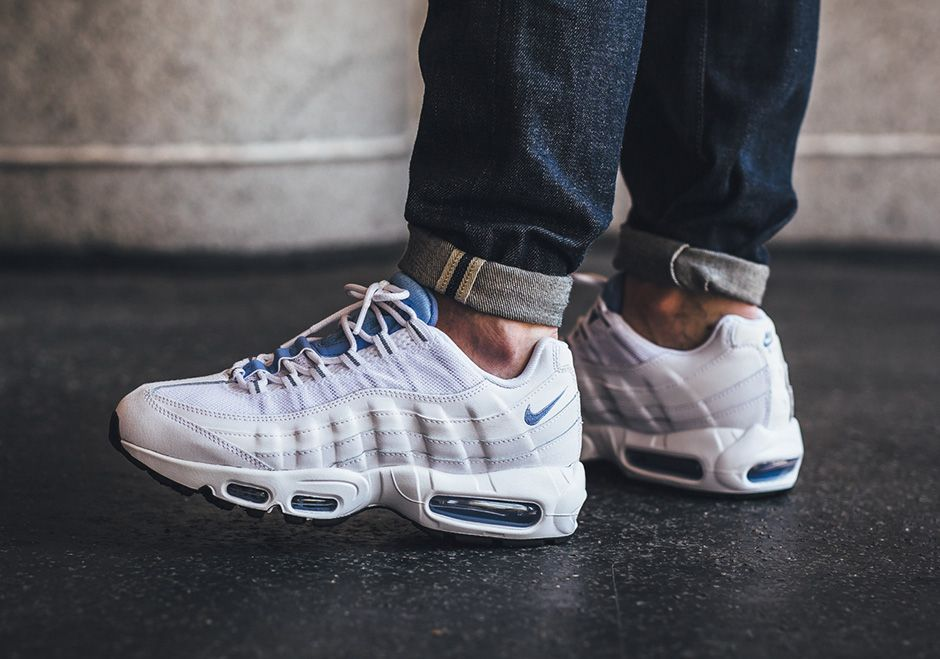 The Nike Air Max 95 gets a clean update for Spring 2015 with a White Chalk  Blue colorway. The pastel shade pops an an all white base. Available today. 723fec8415b5