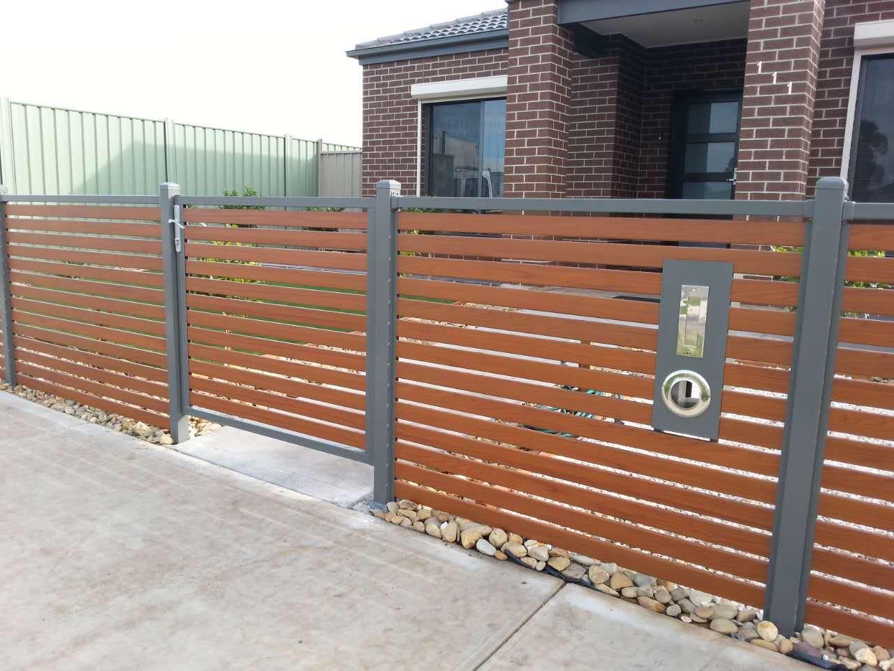 Horizontal wood and metal fence backyard fences cedar