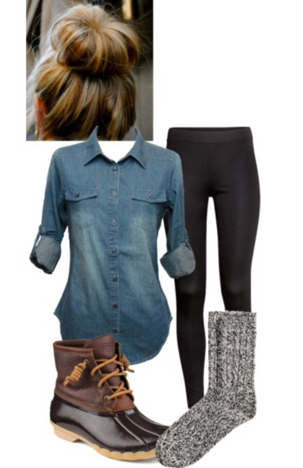 sperry saltwater duck shoes wool socks leggings and a