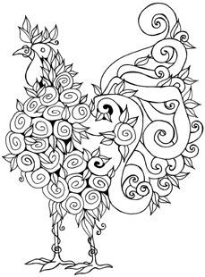 Line+Drawings+of+Birds | Rooster stamp with so many possibilities ...