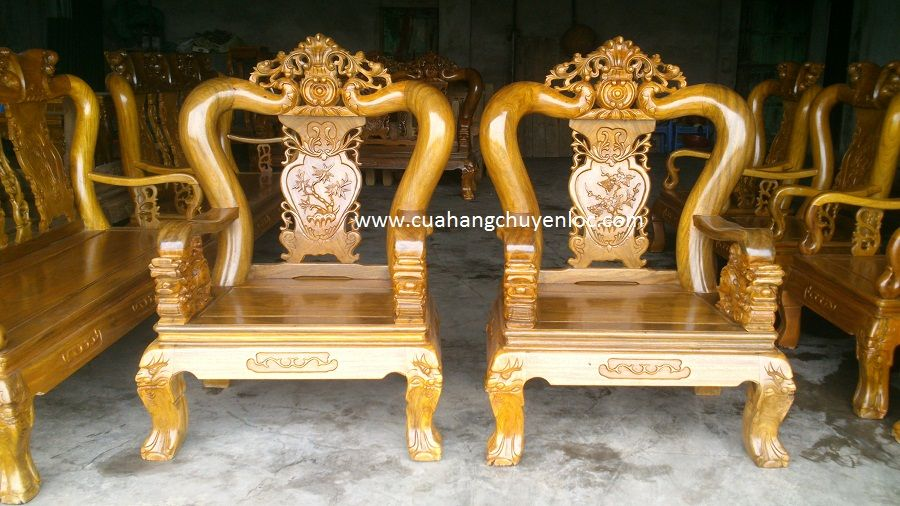bàn ghế gỗ lim chương lá tây - tay nghê - đồ gỗ chuyền lộc