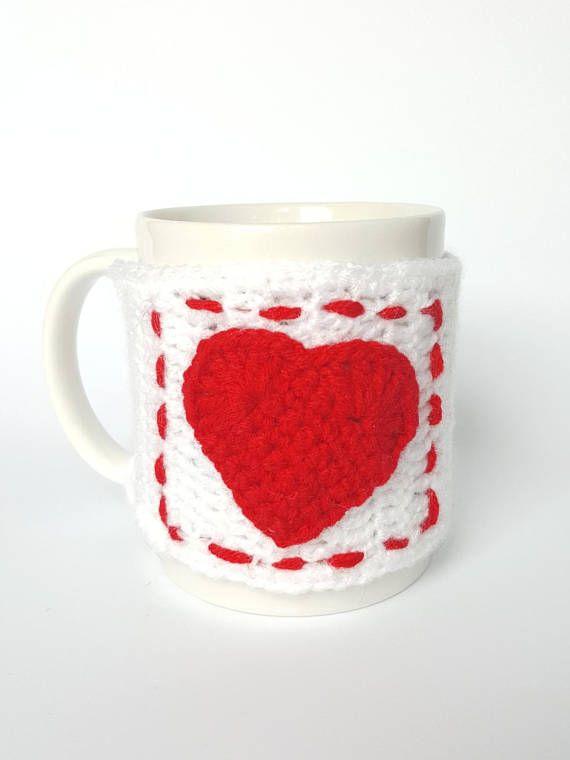 Big Heart mug Crochet mug warmer are 100% handmade, crocheted with ...