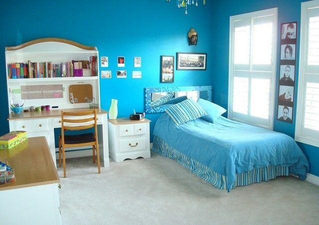 Habitaciones juveniles para chicas adolescentes con estilo ideashogar - Habitacion juvenil azul ...