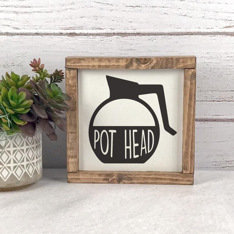 Coffee Sign Pot Head Coffee Sign Coffee Decor Farmhouse Etsy Home Decor Signs Farmhouse Kitchen Signs Kitchen Decor Themes