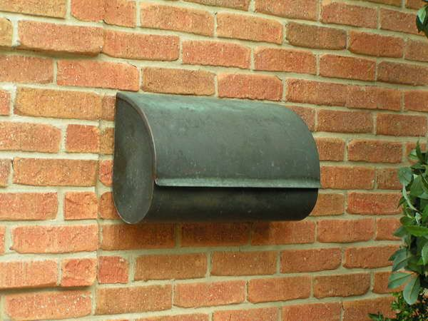 copper wall mount mailbox with simple design