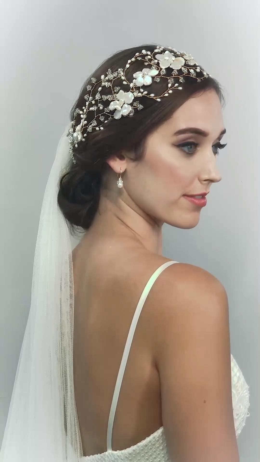 MAY BLOSSOM HEADDRESS AND VEIL-wedding accessories, flower crown, wedding accessories + veil #bridalheadpieces