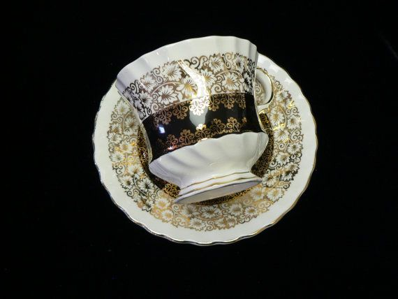 Queen Anne Made in England Fine Bone China  Black, White and Gold Cup and Saucer