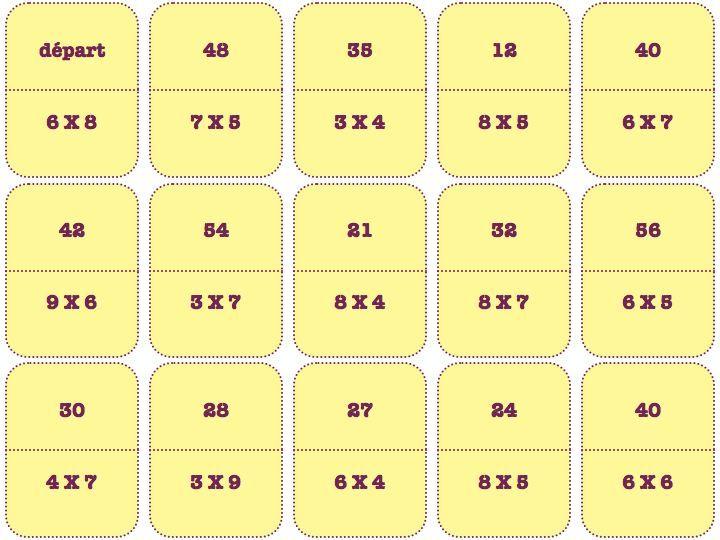 Jeu de calcul domino des tables de multiplication jeux de calcul table de multiplication et - Table de multiplication jeu ...
