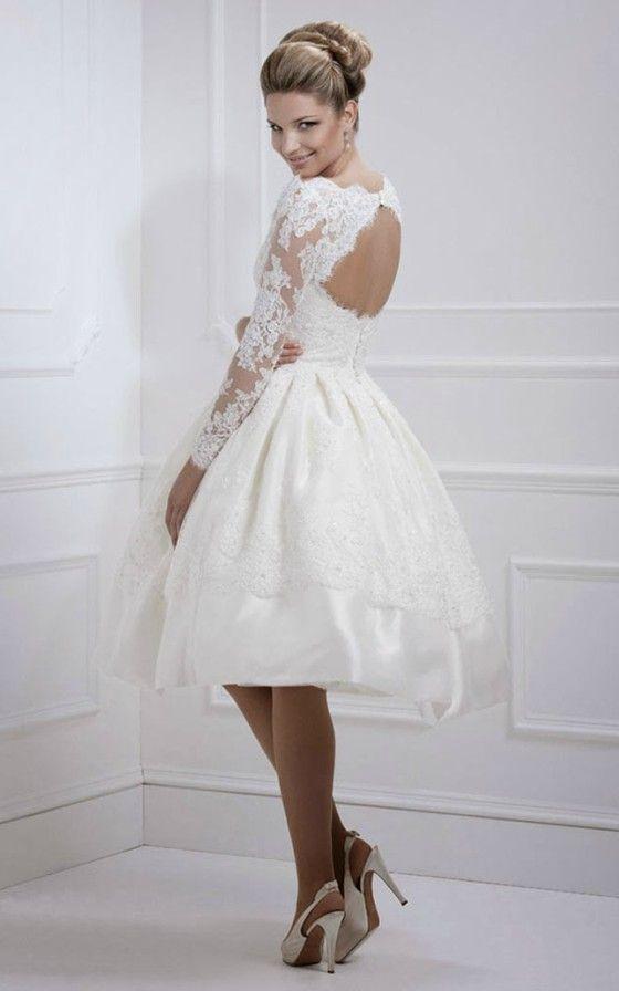 Vintage Chic Short Wedding Dress With Open Back  Sweet &amp Short ...