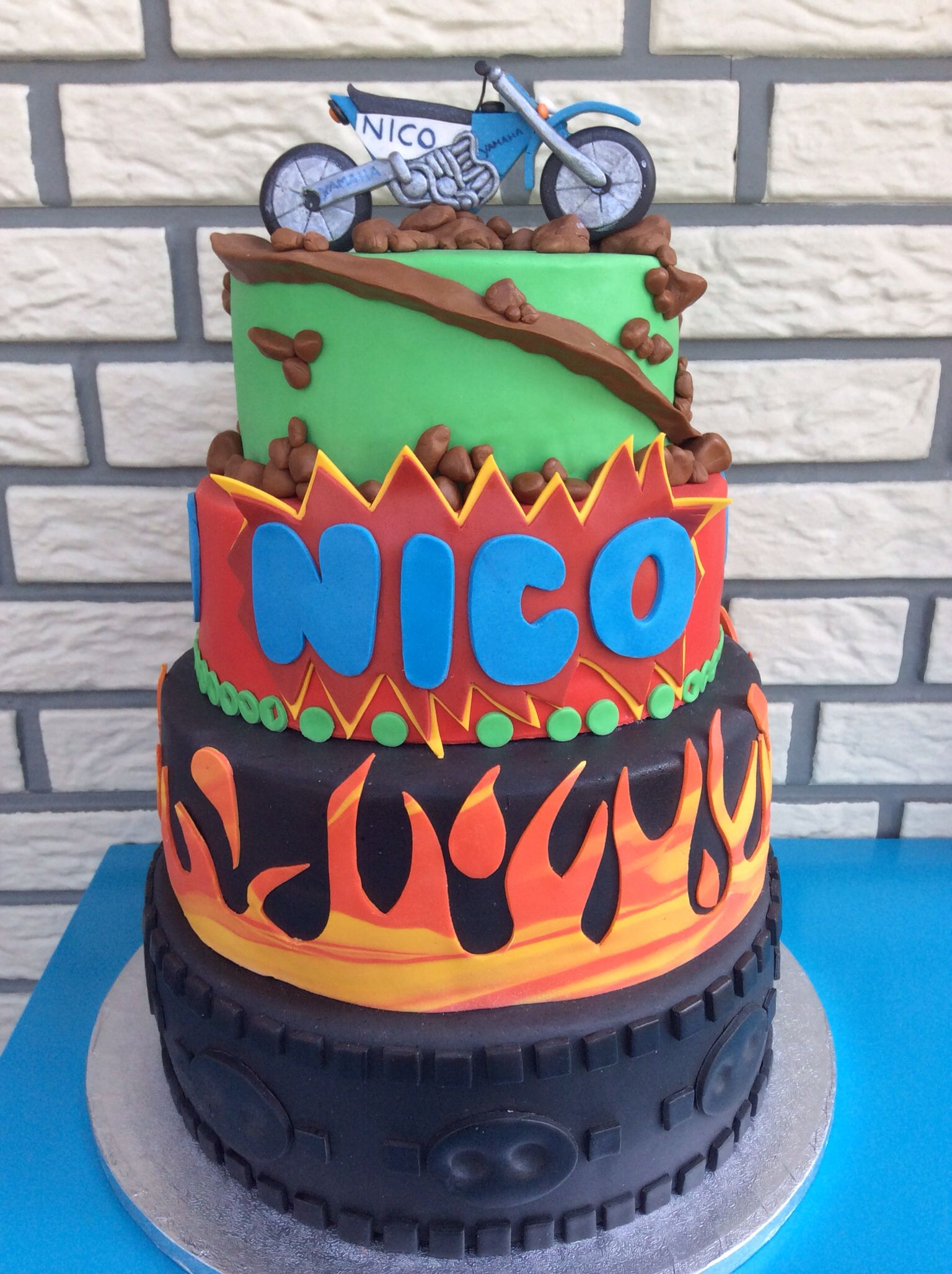 Yamaha cartoon cake with flames For a 60 Year old kid