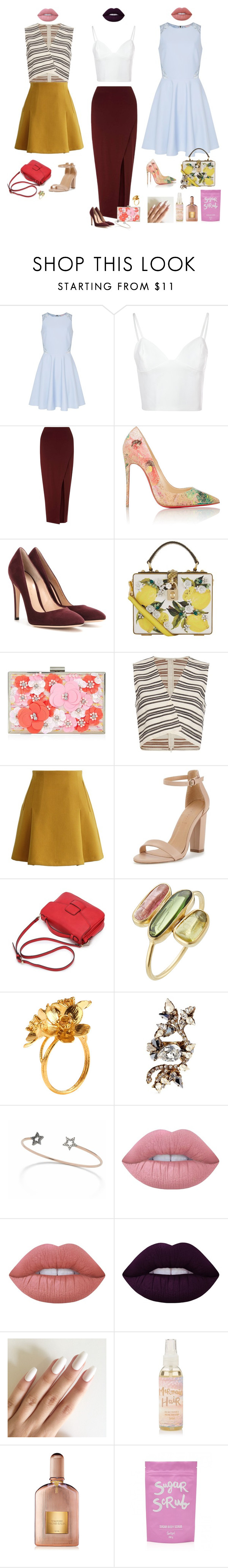 """""""Untitled #2107"""" by audrey-balt on Polyvore featuring Ted Baker, Glamorous, Miss Selfridge, Christian Louboutin, Gianvito Rossi, Dolce&Gabbana, New Look, A.L.C., Chicwish and Pippa Small"""