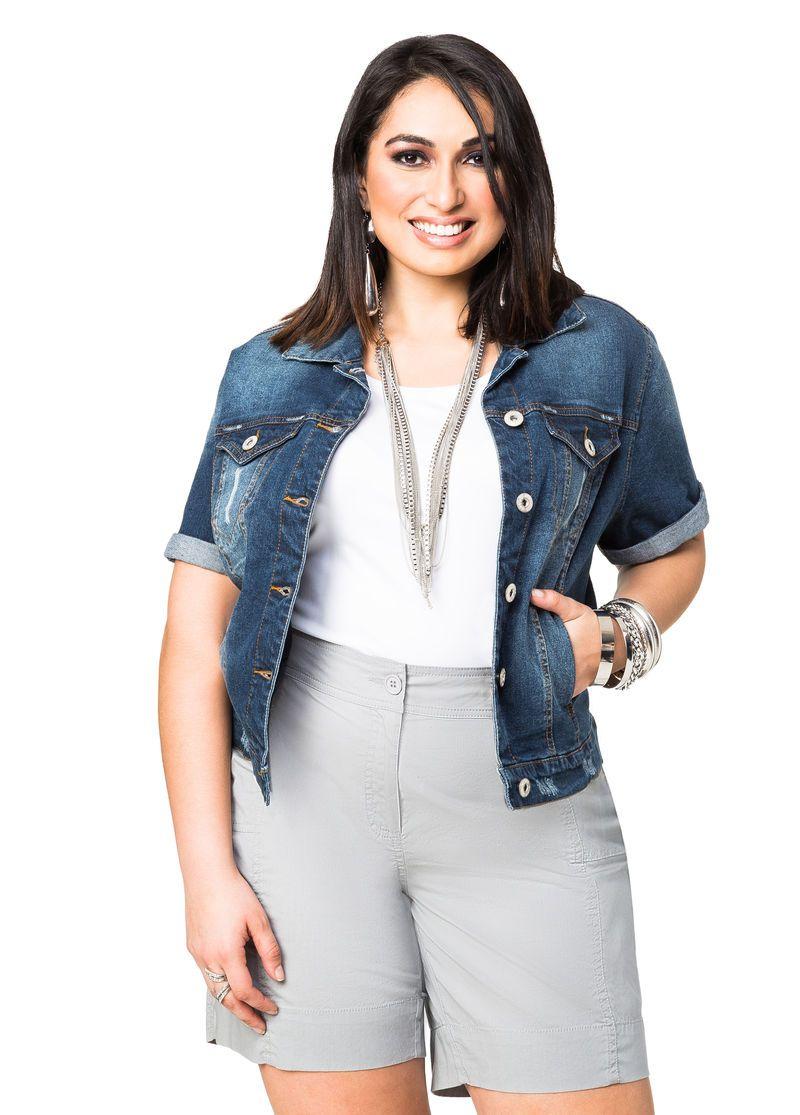 Short Sleeve Jean Jacket Plus Size Denim Ashley Stewart 034 7770x Short Sleeve Jean Jacket Denim Jacket Women Denim Jacket Short [ 1115 x 800 Pixel ]