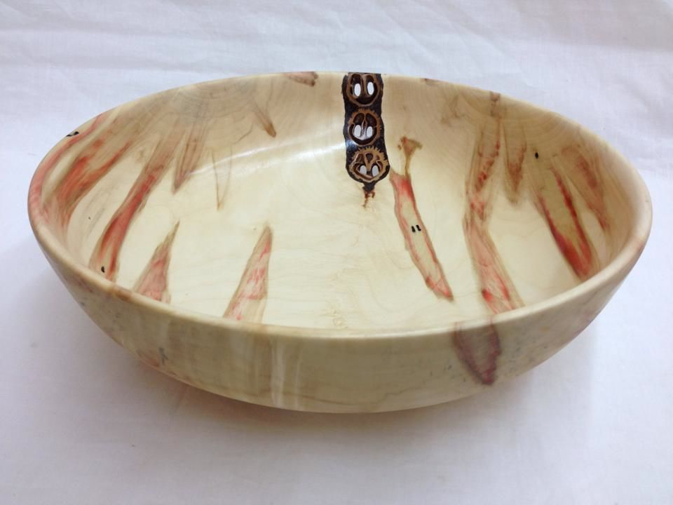 Flame Boxelder Bowl with inlaid Black Walnuts