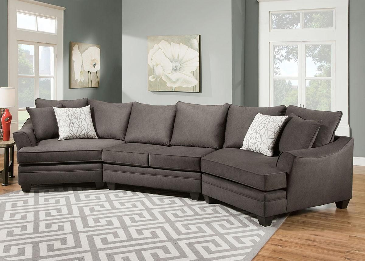 Casa Gray 3 Pc Cuddler Sectional Sectional Living Room Sets Living Room Sectional Couches Living Room