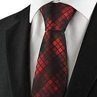 Men's Check Pattern Dark Red Tie Formal Suits Necktie for Wedding – USD $ 7.19