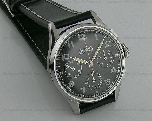d8dae6098b05c European Watch Company  Benrus Sky Chief Chrono Manual Vintage Military  Watches