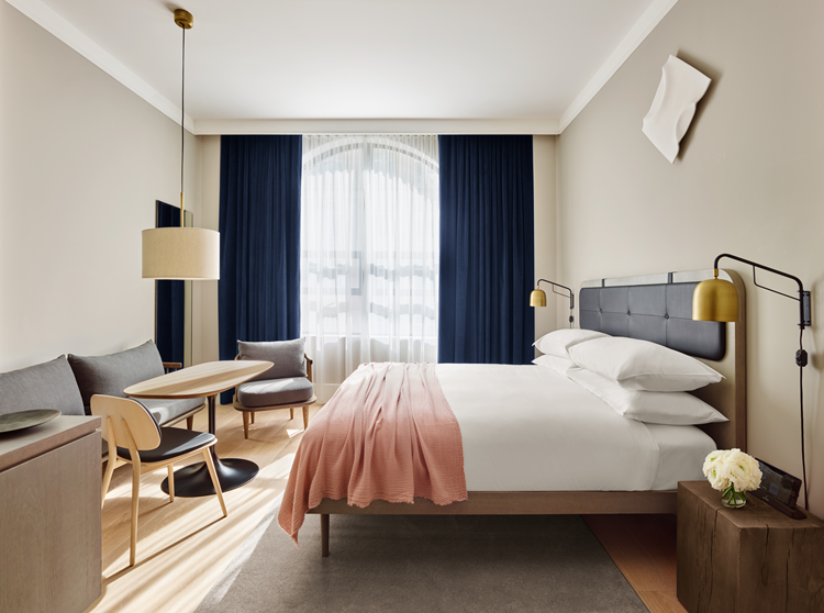 A Scandinavian Style Room Using A Soft And Elegant Colour Palette Hotel Style Bedroom Hotel Interiors Simple Bedroom Design
