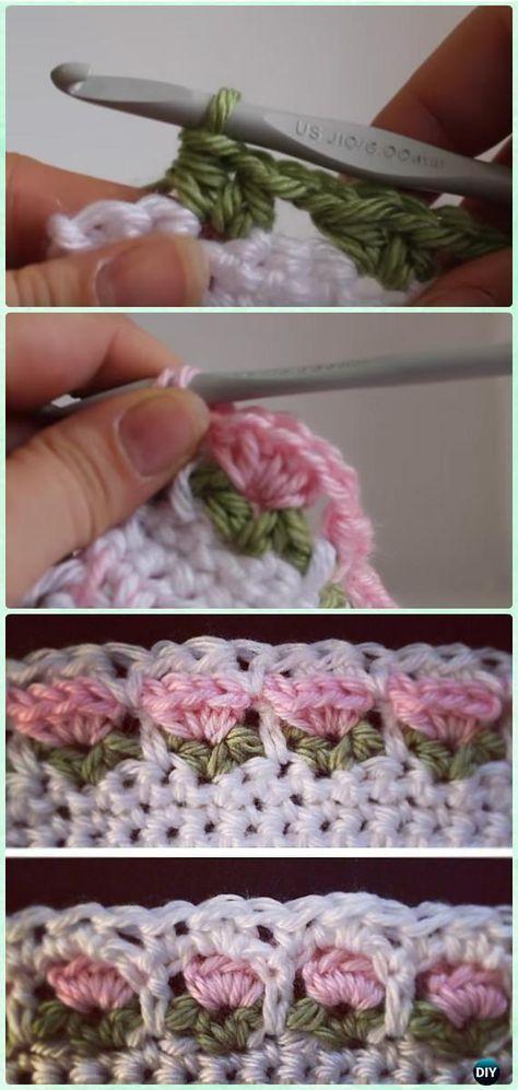 Crochet Flower Stitch Free Patterns   Tejido, Puntos crochet y Puntadas