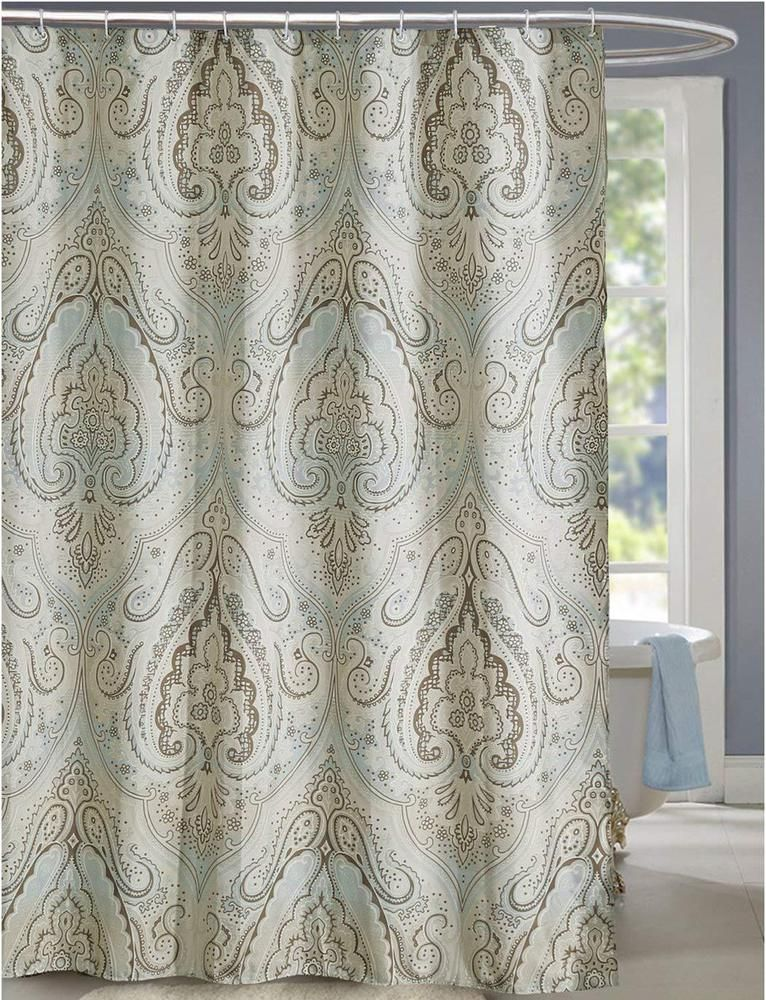 New Taupe Beige Brown Paisley Mildew Resistant Shower Curtain
