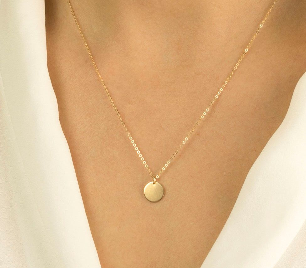 Custom disk necklace gold silver rose gold simple everyday custom disk necklace gold silver rose gold simple everyday circle tag necklace small disc necklace 14k gold fill chain ln209v aloadofball Image collections