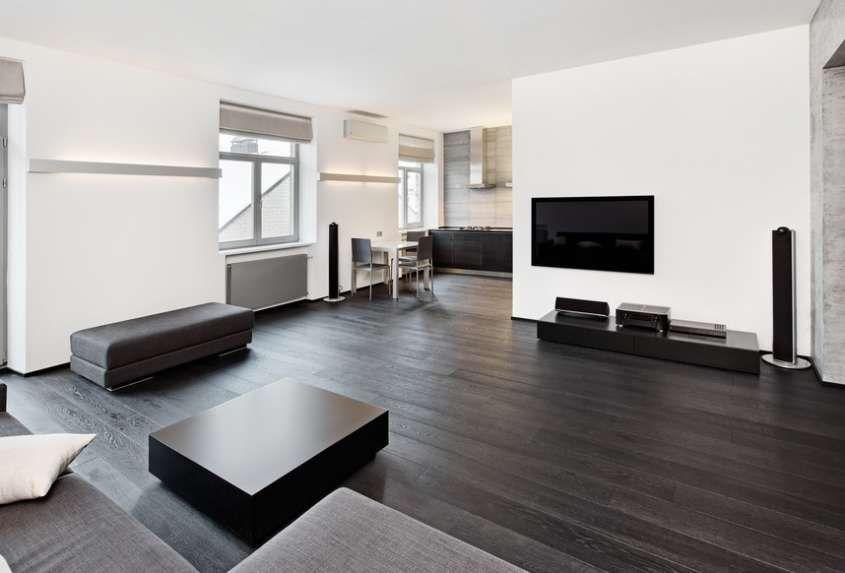 Arredare casa con pavimento scuro - Soggiorno con parquet scuro ...