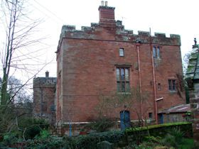 Newbiggin Hall in Cumberland. House incorporating medieval tower house. C14 for the Priory of St Mary's, Carlisle, with c1690 facade and early C19 additions.