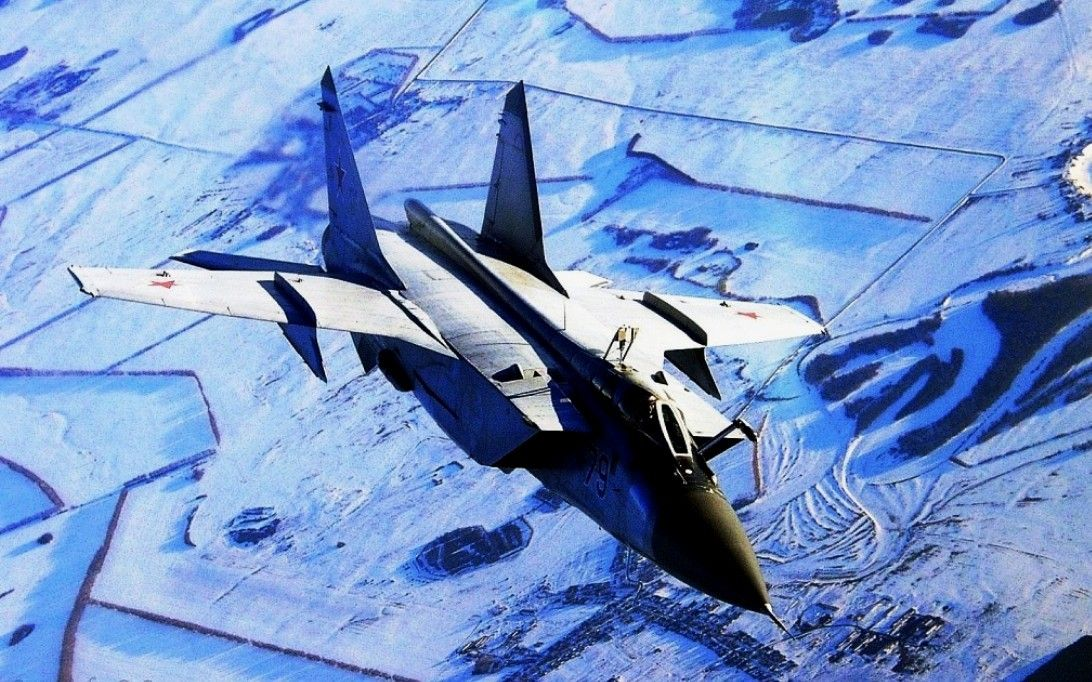 MiG 31 'Foxhound' operating out of a northern soviet airfield.