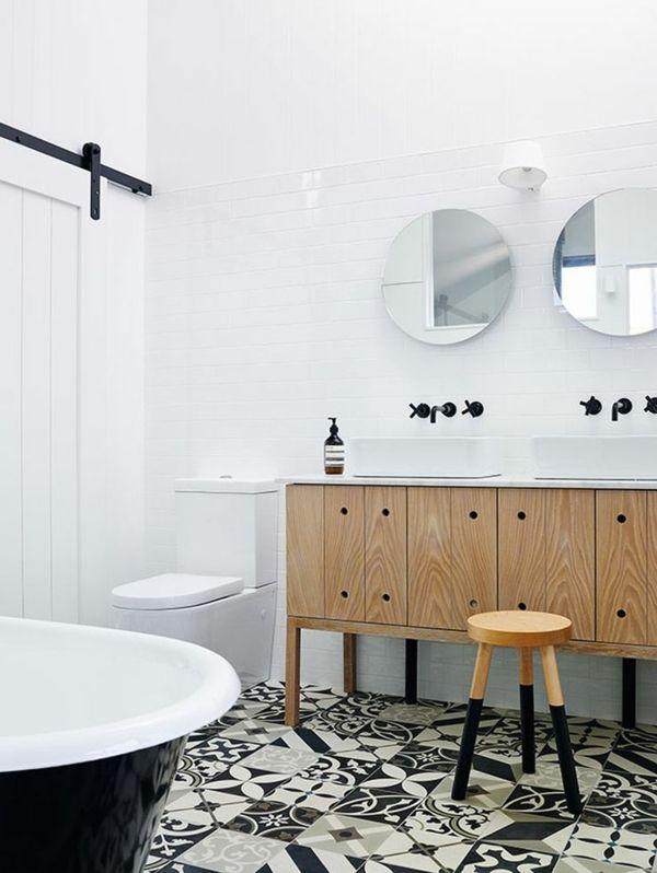 Schwarz Weiße Fliesen badezimmergestaltung mit fliesen interessante beispiele und tipps