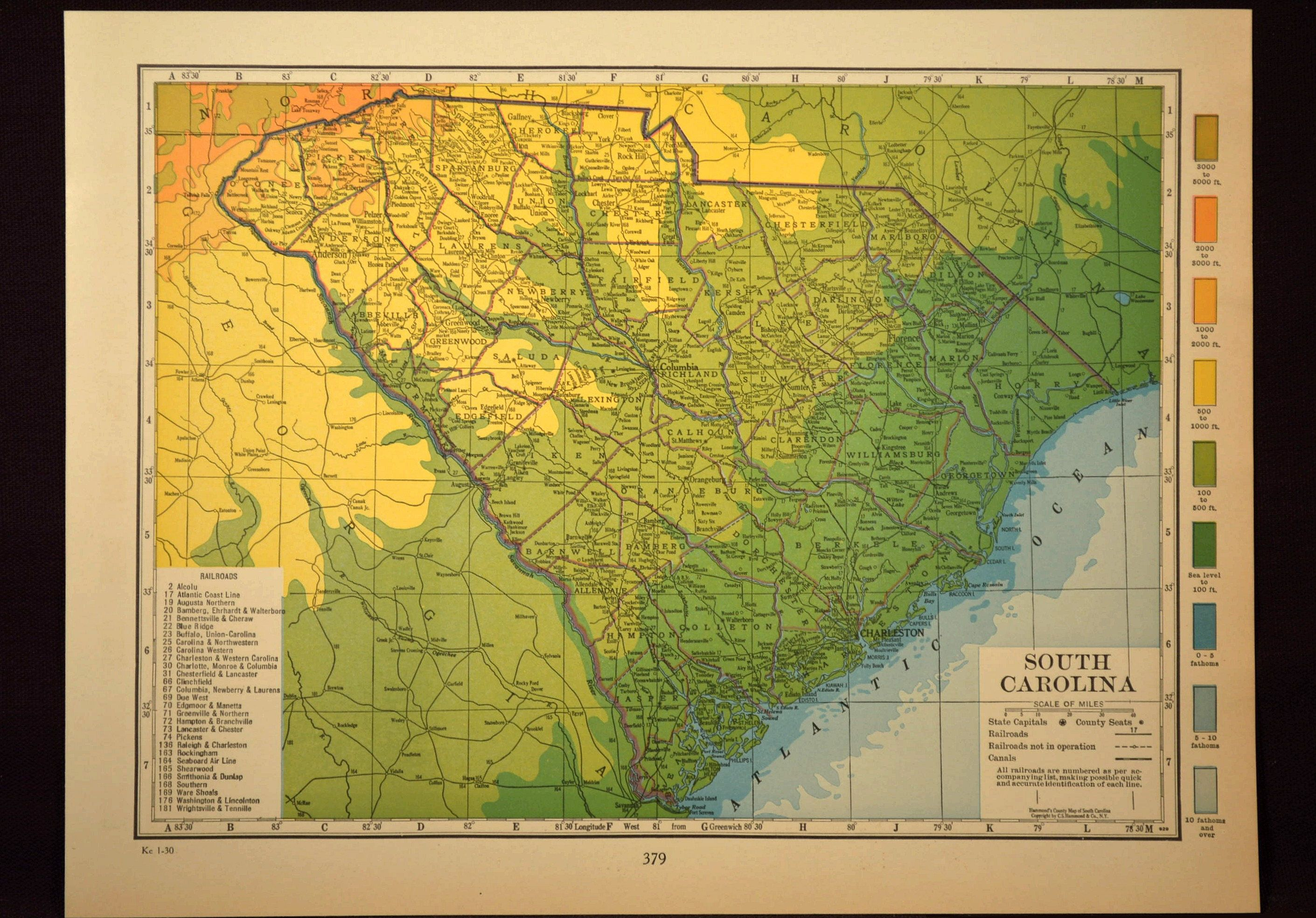 South Carolina Map of South Carolina Wall Art Decor Topographic Map ...