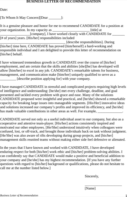 Sample Employment Letter Of Recommendation  TemplatesForms