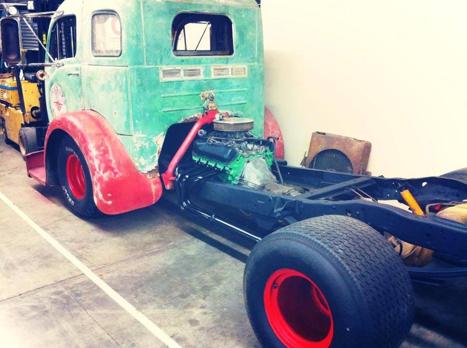 1953 white cabover with cleveland 351 v8 04 engine swap