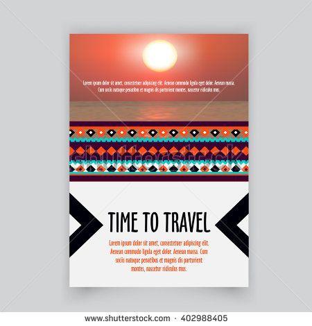 Vector Brochure corporate blank template Tribal brochure design - blank brochure template