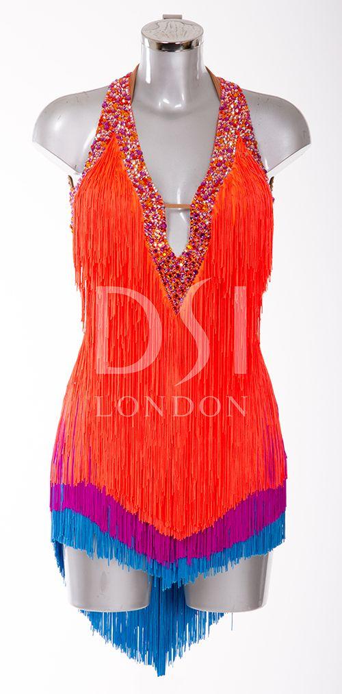 Tangerine Latin Dress As Worn By Karen Hauer On Strictly Come Dancing 2014 Designed By Vicky Gill And Pr Dancesport Dresses Salsa Dress Ballroom Dance Dresses