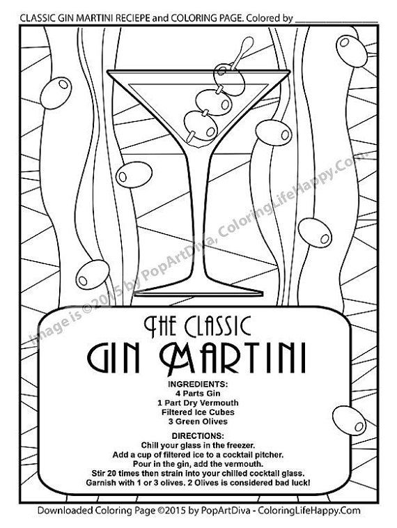Gin Martini Coloring Page With Recipe Printable Coloring Page Instant Download Pdf For Adults Coloring Pages Cool Coloring Pages Cocktail Illustration