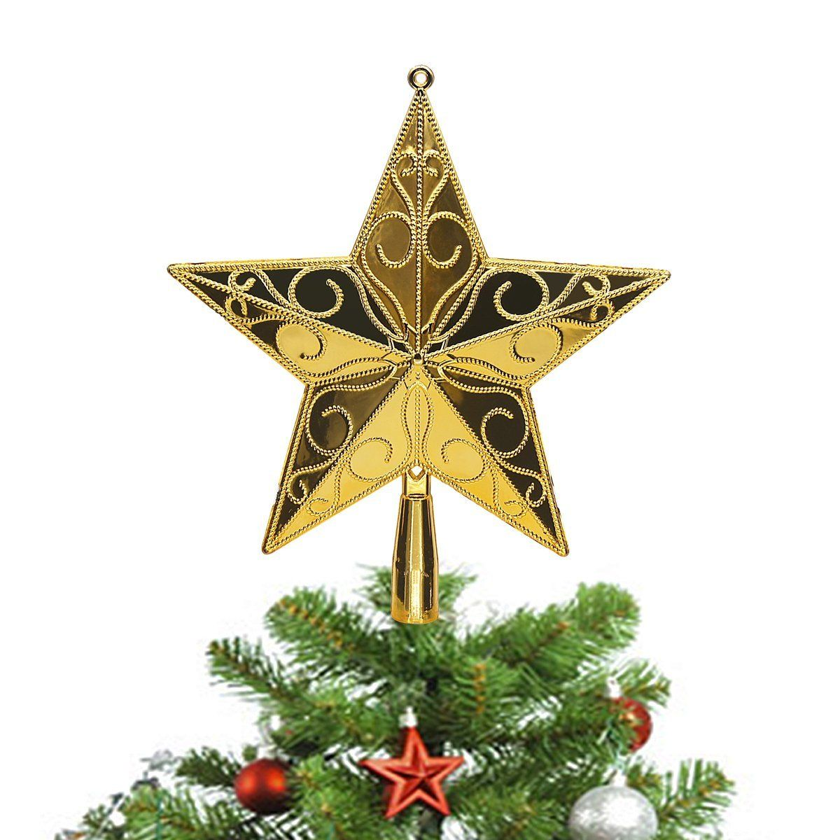 Amazon Com Limbridge Christmas Star Tree Topper 9 Inch Gold Treetop Home Kitchen Tree Toppers Star Tree Topper Christmas Star