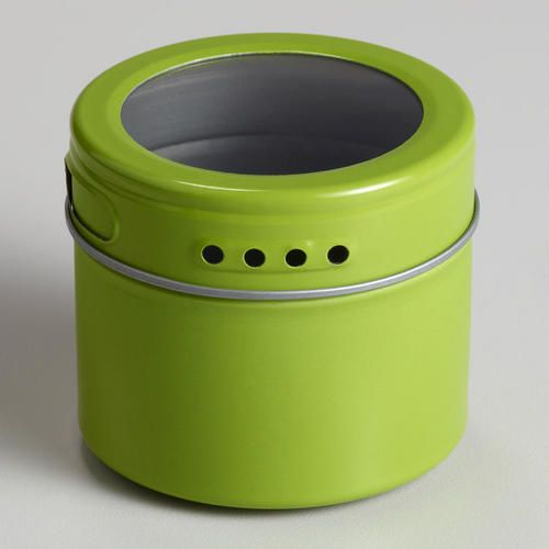 World Market Green Magnetic Storage Tin. (we Use Them To Hold Misc Screws,  Earrings, Paper Clips And What Not On The Fridge That We Find)
